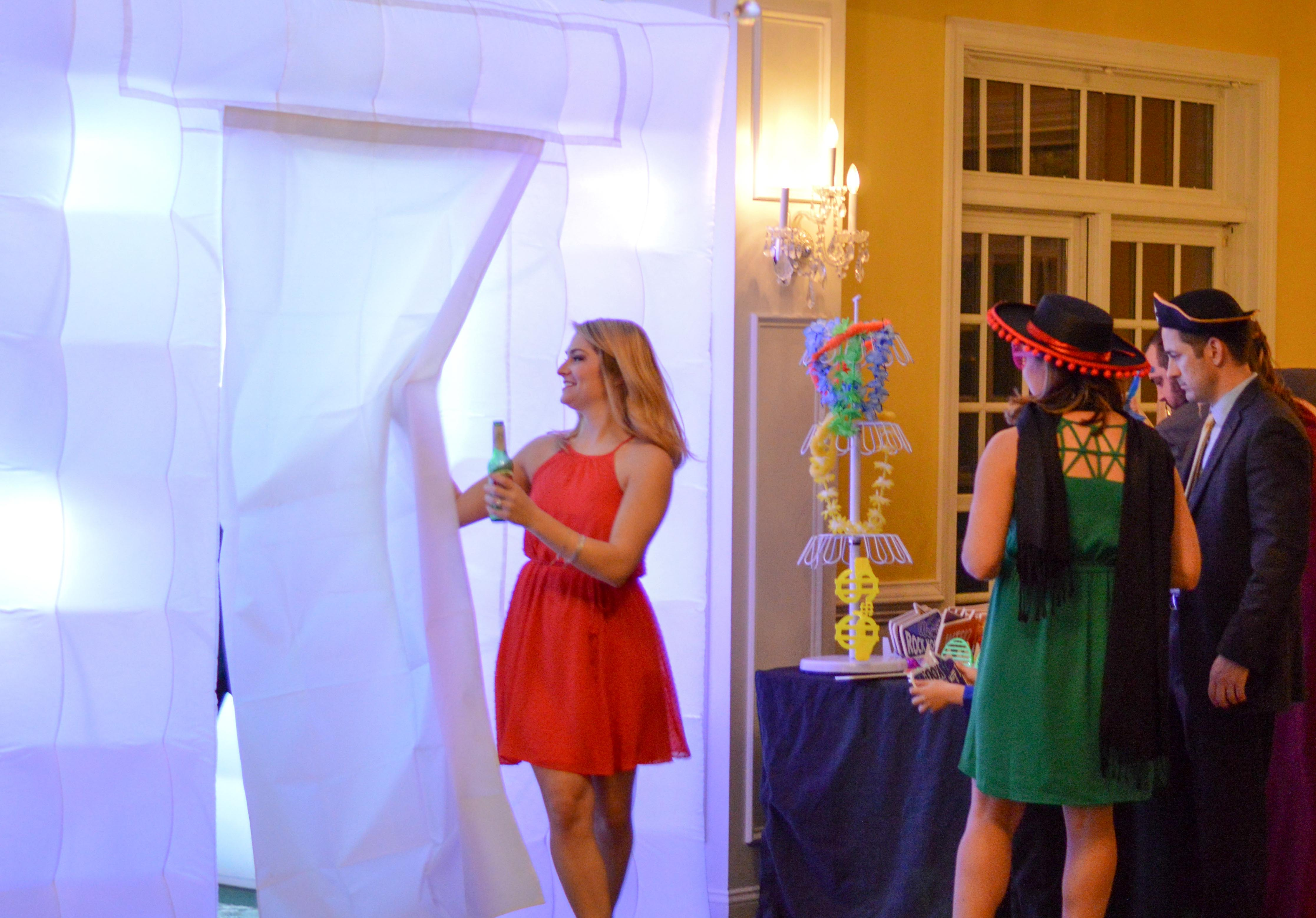 Guests lining up to take awesome pictures in the photo booth!